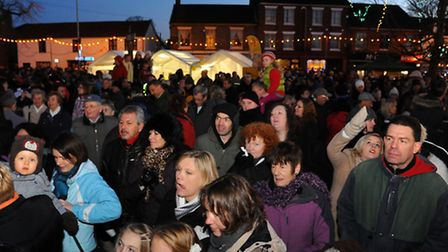 Large crowds at the Attleborough christmas light switch on. Photograph Simon Parker