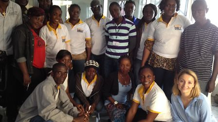 Chloe Brett with the team in Liberia working with children orphaned by Ebola