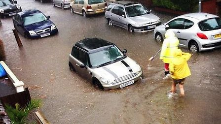 Flooding in Beatrice Road, Norwich. PIC: Al Harnden.