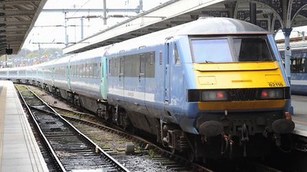 A Greater Anglia train at Norwich on the main line service to London Liverpool Street. Photo: Bill S