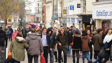 Shoppers out in force in Norwich for the Boxing Day sales. Picture: DENISE BRADLEY
