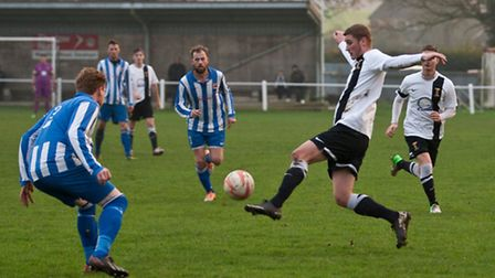 Joe Jackson getting the ball under control during Swaffham Town's 1-0 defeat to Saffron Walden at Sh