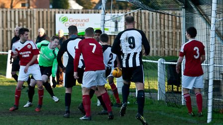 Ben Harris shooting through the crowd during Swaffham Reserves' 2-2 draw with Yelverton at Shoemaker