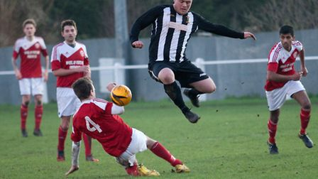 Stephen Aspery riding the challenge during Swaffham Reserves' 2-2 draw with Yelverton at Shoemakers