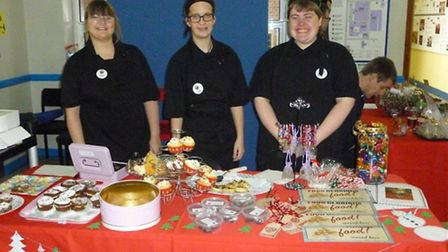The team of Hospitality and Horticulture Enterprise students from City College Norwich selling cakes