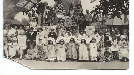 St Augustine's School Empire Day in 1933. That's Hazel Betts on the front row representing South Afr