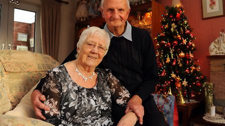 Beryl and Jim Hayward celebrating their 60th wedding anniversary at their home in Mulbarton. Picture