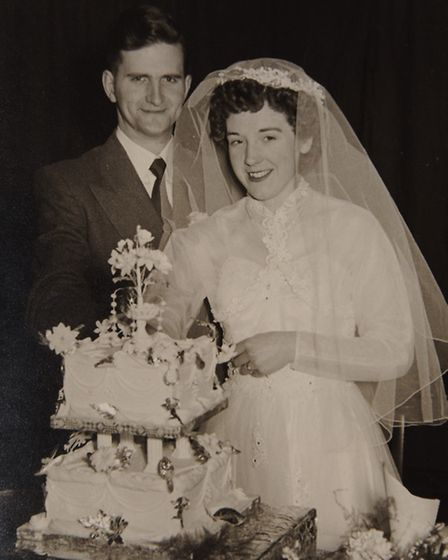 Beryl and Jim Hayward on their wedding day sixty years ago. Picture: submitted