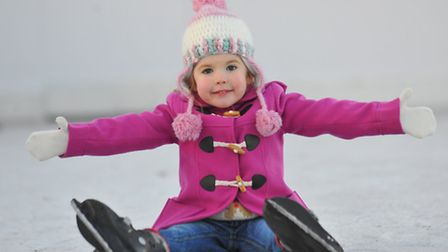 Having fun on the ice rink in the Castle Gardens, Norwich. Three year old Elsie McKinley. Photo : St