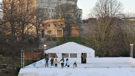 Having fun on the ice rink in the Castle Gardens