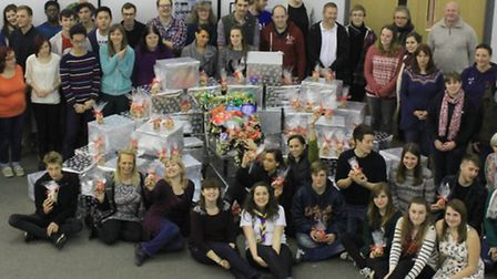 The Love Norwich team with the hampers