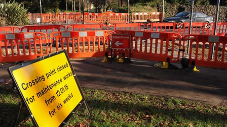 The pedestrian crossing on Chapelfield Road at the Grapes Hill roundabout which is closed for six we