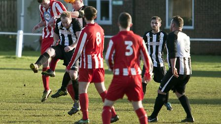 Action from Swaffham Town Reserves' 2-0 win against Mattishall Reserves at Shoemakers Lane, with cap