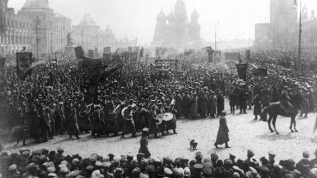 A parade and demonstration in Red Square, Moscow, to commemorate Russia's Labour Day, 1st May 1917.