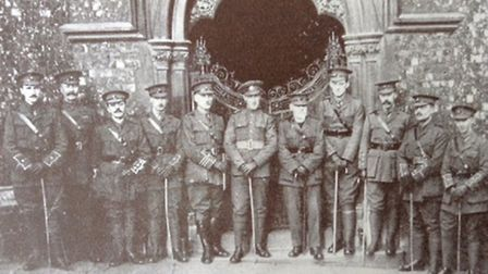 Norwich VC hero Sidney Day (centre) outside the Guildhall with officers of the Church Lads Brigade.
