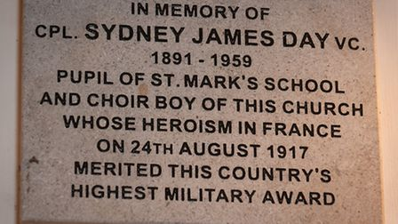Memorial plaque to Cpl Sydney James Day VC at St Mark's church in Lakenham. Photo: Bill Smith