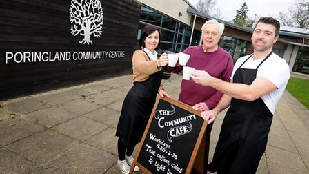 Rachel and Toby Thomas open The Community Cafe at Poringland Community Centre. Pictured with Parish