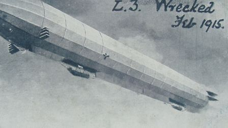 First World War. Pictured: the German Zeppelin L3 which carried out the first air attack on Norfolk.