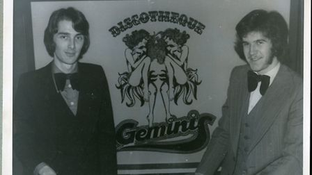 """Looking good! David Clayton (left) and Steve """"Dr Vinyl"""" Burns in the 1970s with their Gemini Disco."""