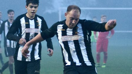 Jamie Buhlemann scored a hat-trick for Swaffham Reserves at Costessey Sports. Picture: Eddie Deane