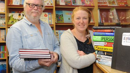 Kett's Bookshop celebrate their first anniversary. Shop manager Tracy Kenny with volunteer Trevor El