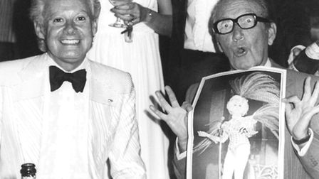 Entertainment legends Danny La Rue and Arthur Askey at the Talk in Oak Street, Norwich, in 1976For: