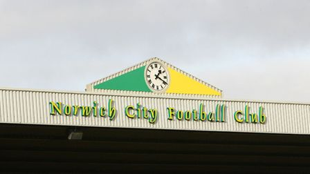 The clock on top of the Geoffrey Watling City Stand at Carrow Road Stadium, Norwich.