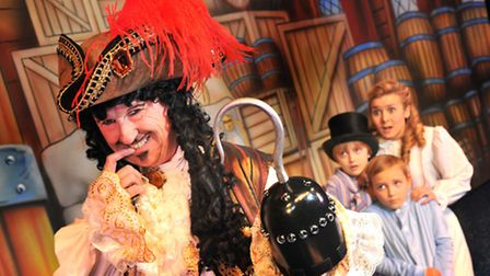 Norwich Theatre Royal pantomime - Peter Pan. Kevin Kennedy as Captain Hook with Ruth Betteridge as W