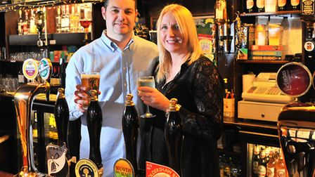 Kings Arms landlords Rik and Michaela Roberts who are leaving the Hall Riad pub. Picture: Simon Finl