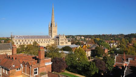 View of Norwich Cathedral and the close from the rooftop of Larking Gowen. Photo: Steve Adams