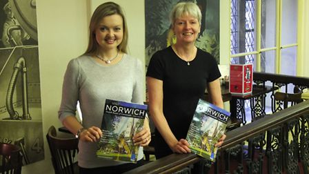 Sara Hardman (left), VisitNorwich marketing executive, and Dawn King, manager of Caley's Cocoa Café