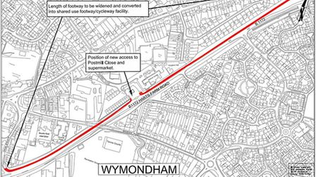 A plan for the new footpath and cycle way in Wymondham.