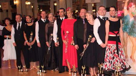 Jane and David Corby (front) with the other dancers in the final of the over 35 UK Pre-Amateur Ballr