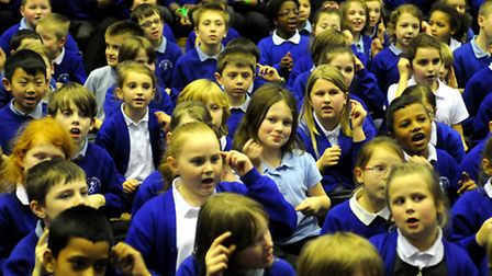 Angel Road Junior School pupils taking part in the singing and signing world record attempt. Picture
