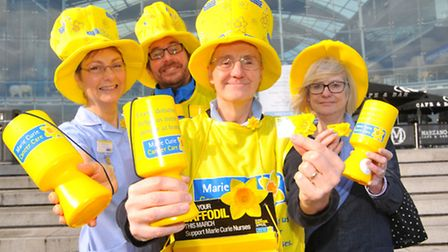 The Great Daffodil Appeal - Marie Curie Cancer Care supporters outside the Forum, Norwich. left to r