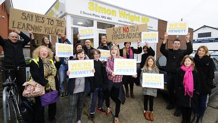 Hewett School campaigners at the office of Simon Wright MP in Norwich. Picture: ANTONY KELLY