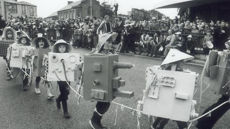Children walking during the Lord Mayors procession, Norwich. pic taken 16th june 1981 c12169