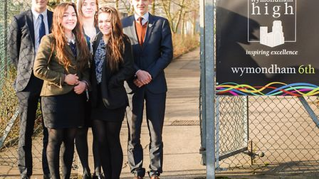 Front row, left to right, Ruby Douglass, Maisie Payne and back row, left to right, James Walden, Kez