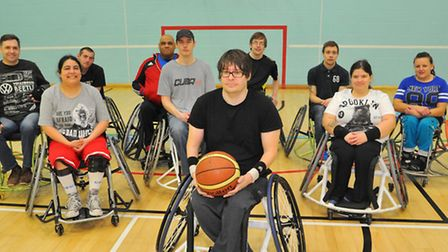 Green Canaries Wheelchair Basketball Club playing in Recreation Road Sports Centre, Norwich. Photo :