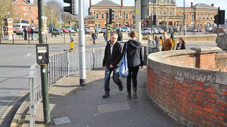 Narrow pavements on Prince of Wales Road for pedestrians at the approach to Norwich Station.Picture