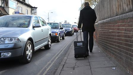 Narrow pavements on Riverside Road for pedestrians at the approach to Norwich Station.Picture by SIM