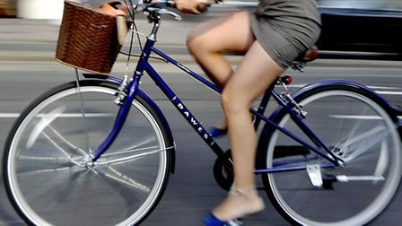 A person cycling in Bristol.