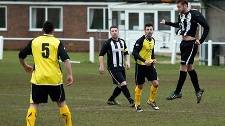 Action from Swaffham Town Reserves' (black and white) 3-2 win over Freethorpe at Shoemakers Lane in