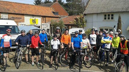 Cyclists taking part in the first of the monthly cycle rides which will be organised by the Fat Cat