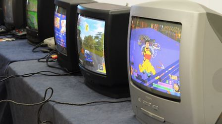 The Norwich Gaming Festival gets under way at the Forum. Retro TVs for the retro games. Picture: DEN