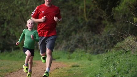 Catton Park Parkrun. Five year old Adam Young who completed his 50th run with his dad Peter.Photo: S
