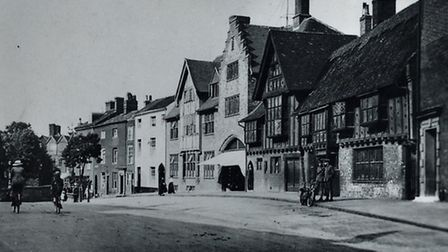 All Saints Green in an undated postcard. The Thatched Cinema is right of centre on this picture.