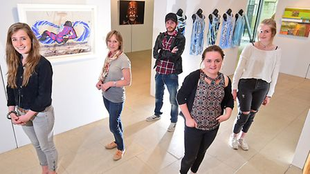 Bishop's Art Prize exhibition of work by Norwich University of the Arts students. Left to right, Lyd