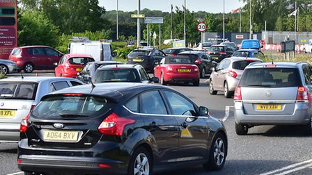 Traffic queues after a crash blocks the road near Queens Hills, Costessey.Picture: ANTONY KELLY