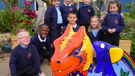 Catton Grove Primary school pupils with their baby GoGoDragon! 'Grover'. It was designed and decorat